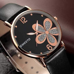SMEETO C1734 Simple Flower Patten Leather Women Quartz Watch