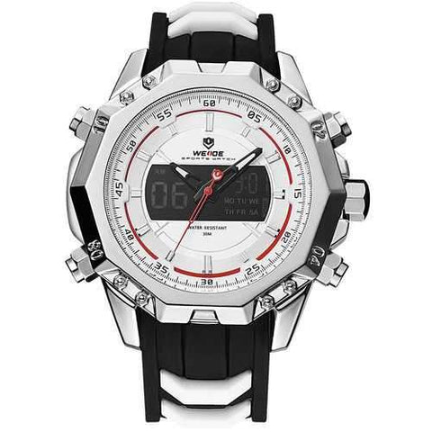 WEIDE 6406 Silver Case Luminous Dual Display Digital Watch