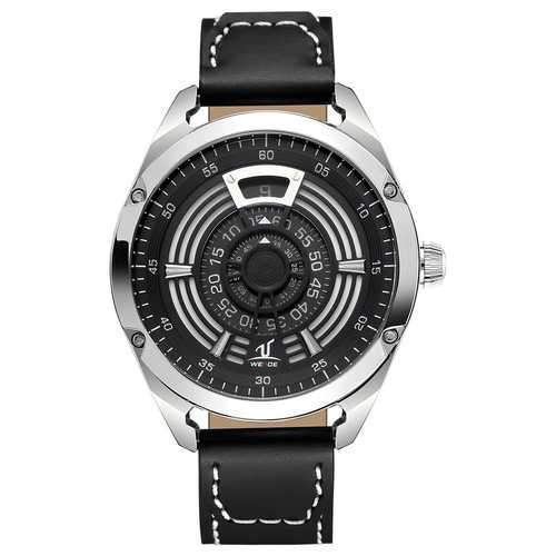 WEIDE UV1701 Unique Design Leather Strap Men Wrist Watch
