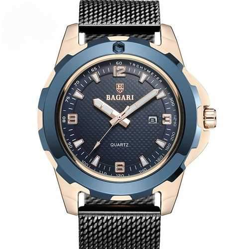 BARAGI 1689 Calendar Business Full Steel Men Wrist Watch