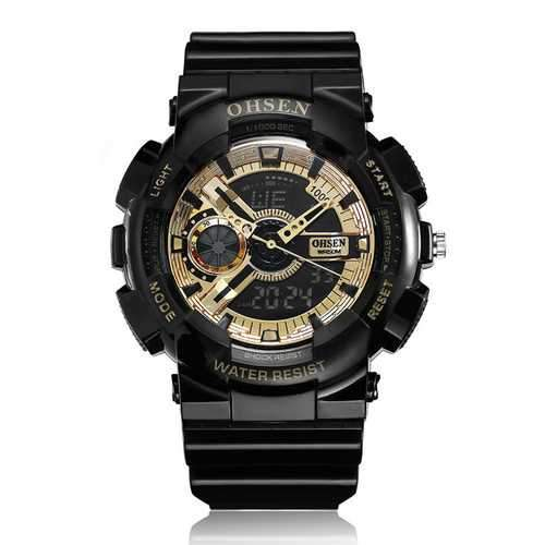 OHSEN AD1803 Luminous Stopwatch Dual Display Digital Watch