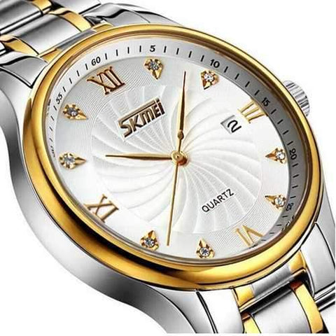 SKMEI 9101 Business Style Full Steel Calendar Men Watch