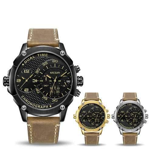 MEGIR 2093 Dual Time Zones Chronograph Sport Watch