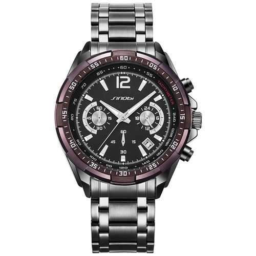 SINOBI 9696 Waterproof Calendar Full Steel Quartz Watch