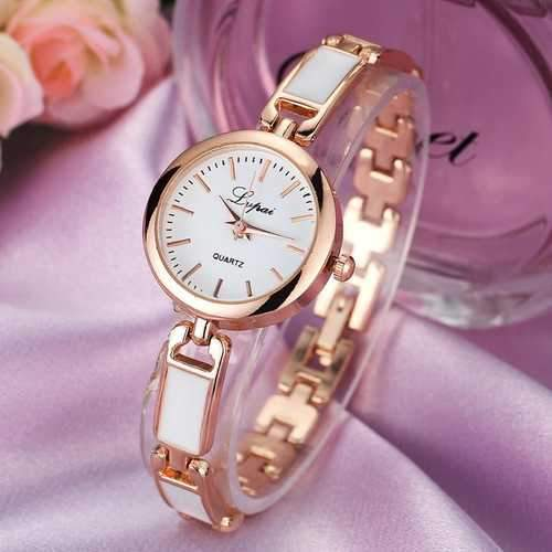 LVPAI Stainless Steel Rhinestone Women Bracelet Watch