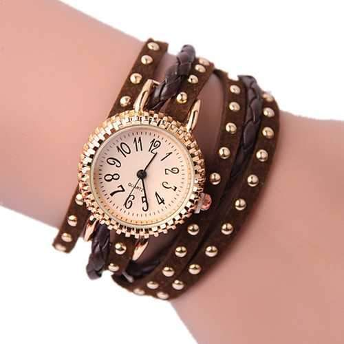 Women Casual Rivet Woven Wrap Long Strap Bracelet Watch