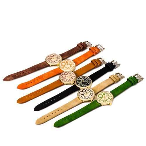Fashion Vintage Women Big Number Round Dial PU Quartz Watch