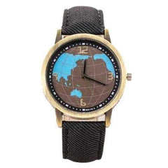 Fashion Earth Map Design Bronze Round Case Fabric Quartz Watch
