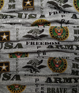 Gray face mask with the words USA, ARMY, Freedom, United States Army, with stars and Eagles