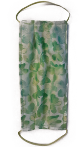 Face Mask with Butterflies Sparkle and green with swirls Reversible Handmade Washable Reusable Cotton