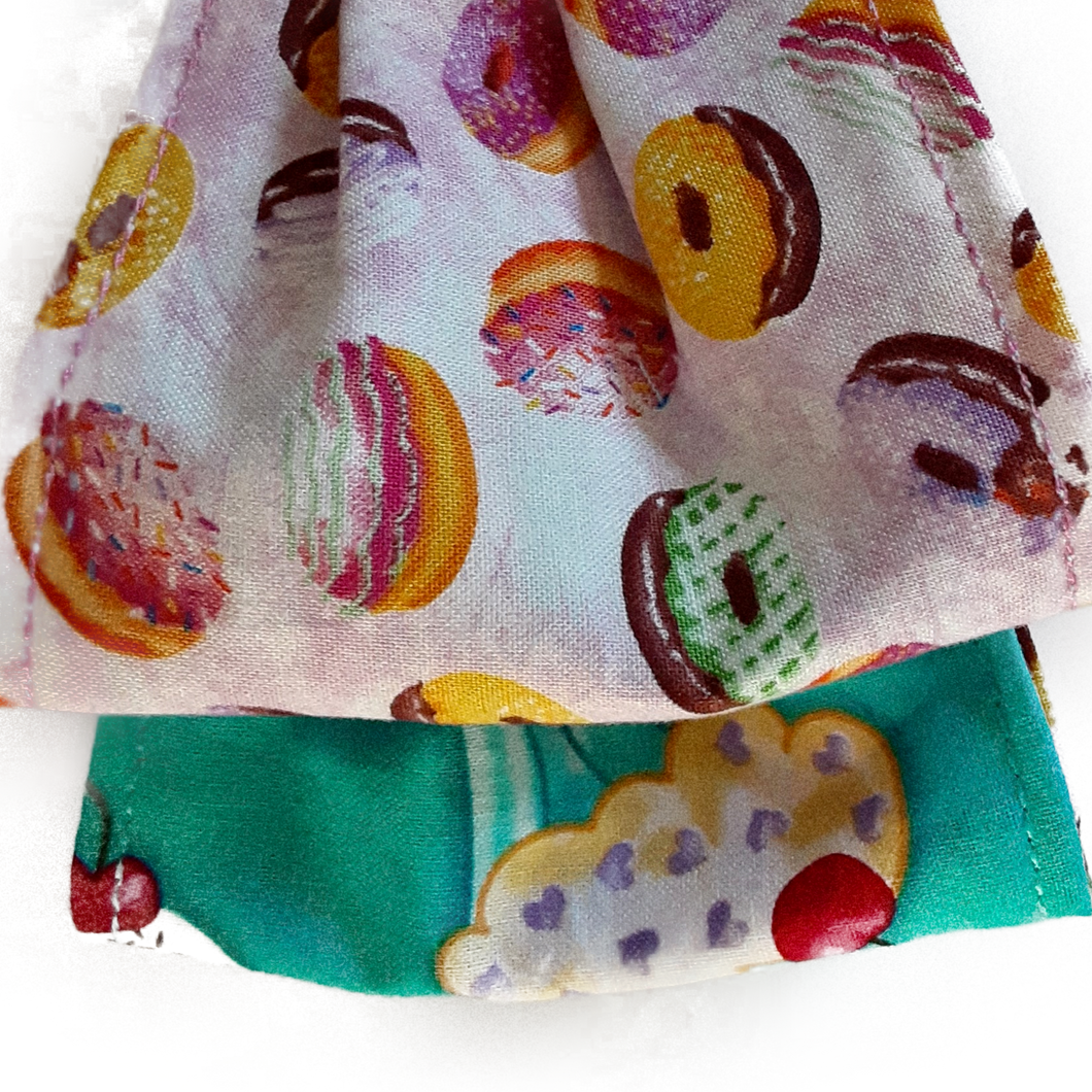 Reversible Youth face mask cover doughnuts on one side and cupcakes on the other