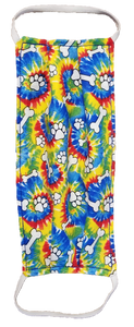 This is a newly handmade cotton adult fabric face cover. This is double ply, reusable and washable. Made in the USA in a smoke free and pet free environment.  This can be used as a public courtesy cover.   **This is 1 face cover with a reversible pattern: Tie Dye Pattern with Dog paws and bones on one side and Tie Dye Pattern on the other.