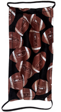 Load image into Gallery viewer, This is 1 face cover (reversible with the same pattern on both sides): Footballs on both sides.