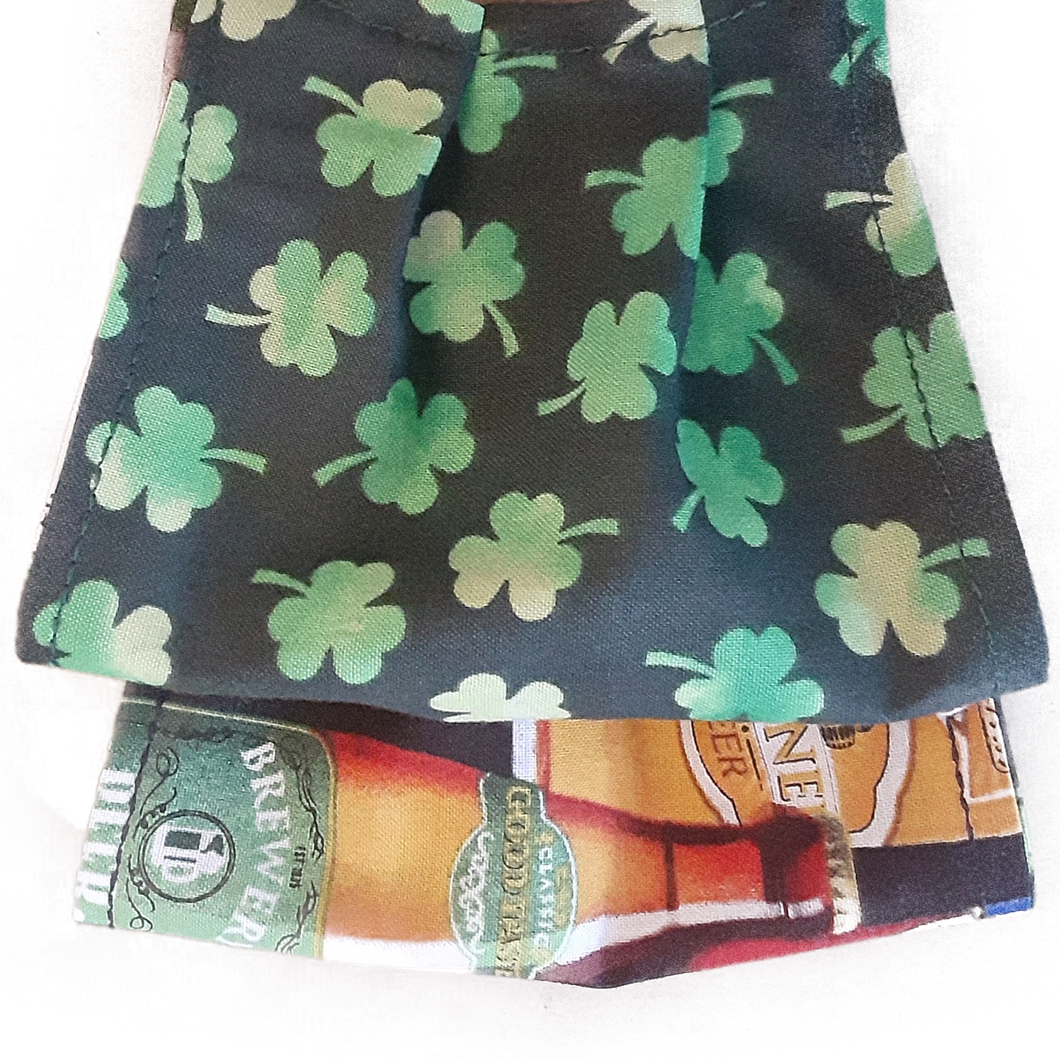 **This is 1 face cover with a reversible pattern: Shamrocks on one side and Beer Bottles on the other.  **This face cover does not guarantee protection from disease.  You must wash before using. Stay safe and be well.