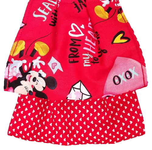 This is a newly handmade cotton adult fabric face cover. This is double ply, reusable and washable. Made in the USA.  This can be used as a public courtesy cover.   **This is 1 face cover with a reversible pattern: It is Red with Minnie and Mickey, Hearts, and Love sayings on one side and Red with White Hearts on the other