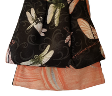 Load image into Gallery viewer, **This is 1 face cover with a reversible pattern: Dragonfly's in different colors on one side and Peach hues on the other.  **This face cover does not guarantee protection from disease.  You must wash before using. Stay safe and be well.