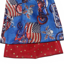Load image into Gallery viewer, face mask blue with motorcycles, american flag, skulls, red with gold stars