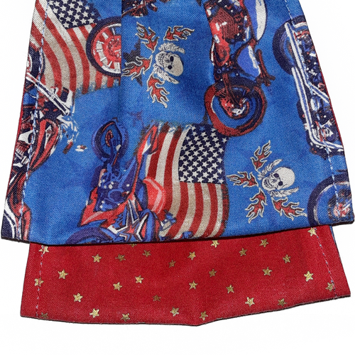 **This is 1 face cover with a reversible pattern: Motorcycles, Skulls and flags on one side and Red with Stars on the other.