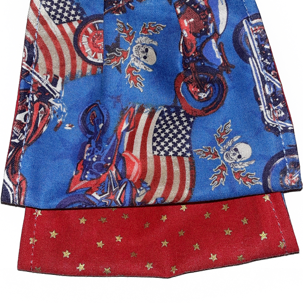 face mask blue with motorcycles, american flag, skulls, red with gold stars