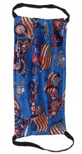 Load image into Gallery viewer, face mask blue with motorcycles, american flag, skulls and has black elastic