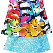 Load image into Gallery viewer, This is 1 face cover with a reversible pattern: School of Colorful Fish on one side and Blue with white leaves on the other.