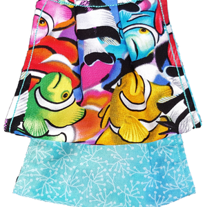 This is 1 face cover with a reversible pattern: School of Colorful Fish on one side and Blue with white leaves on the other.