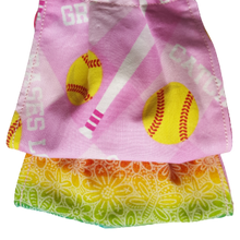 Load image into Gallery viewer, **This is 1 face cover with a reversible pattern: Pink with Softball pattern on one side and Colorful hues over white flowers on the other.  **This face cover does not guarantee protection from disease.  You must wash before using. Stay safe and be well.