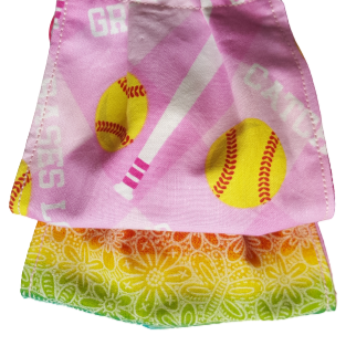 **This is 1 face cover with a reversible pattern: Pink with Softball pattern on one side and Colorful hues over white flowers on the other.  **This face cover does not guarantee protection from disease.  You must wash before using. Stay safe and be well.