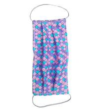 Load image into Gallery viewer, **This is 1 face cover with a reversible pattern: Pink with Colorful Hearts and Unicorns on one side and Colorful Mermaid Scales Pattern on the other.