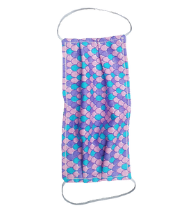 **This is 1 face cover with a reversible pattern: Pink with Colorful Hearts and Unicorns on one side and Colorful Mermaid Scales Pattern on the other.
