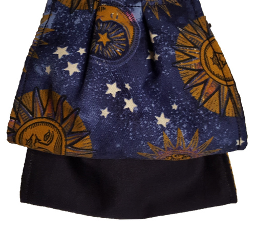This is 1 face cover with a reversible pattern: Blue with Sun, Moon and Stars on one side and Solid Navy Blue on the other.  Note: Sun and Moons may appear in a different placement on the mask as this fabric is multidirectional