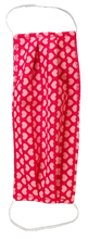 Load image into Gallery viewer, This is a newly handmade cotton adult fabric face cover. This is double ply, reusable and washable. Made in the USA.  This can be used as a public courtesy cover.   **This is 1 face cover with a reversible pattern: It is Red with Hearts on one side and Red with White Hearts on the other
