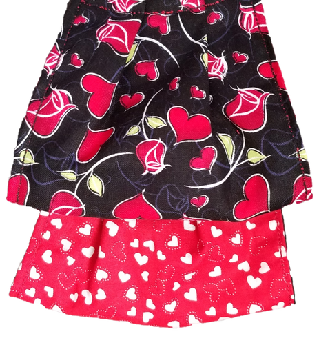 This is a newly handmade cotton adult fabric face cover. This is double ply, reusable and washable. Made in the USA.  This can be used as a public courtesy cover.   **This is 1 face cover with a reversible pattern: It is Black with Red Hearts and Roses on one side and Red with White Hearts on the other