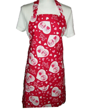 "Load image into Gallery viewer, This is a new handmade bib apron. The fabric is cotton. It is Red with Love Owls in a heart, Hearts and a saying ""Owl be yours"" on it. It has one right hand pocket. It measures approx. 27""-28"" from neck edge to bottom hem and 31.5"" from side to side. The bib is approx. 10.5"" wide. The neck strap is 20"" long total and the side ties are approx. 27""-28"" long. Nice gift for someone cooking your special meal, or you can just be cooking cute!"