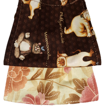 Load image into Gallery viewer, This is 1 face cover with a reversible pattern: Cats doing assorted Yoga poses on one side and Pink Floral pattern on the other  NOTE: Yoga Cats and Flowers may appear in a different placement order on the actual mask as the fabric is multi directional
