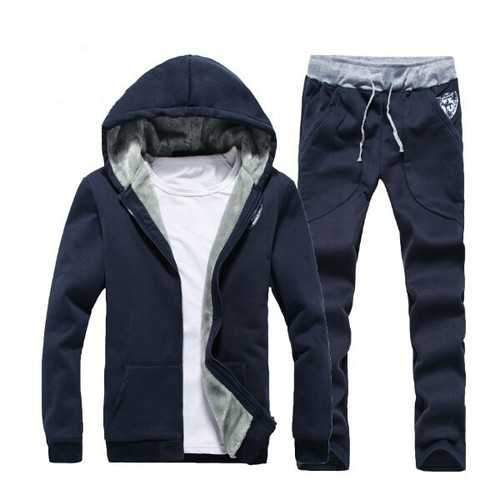 Mens Thick Casual Sport Joggers Solid Color Set Fashion Tracksuit Suit Hoodies Sweatshirts Pants