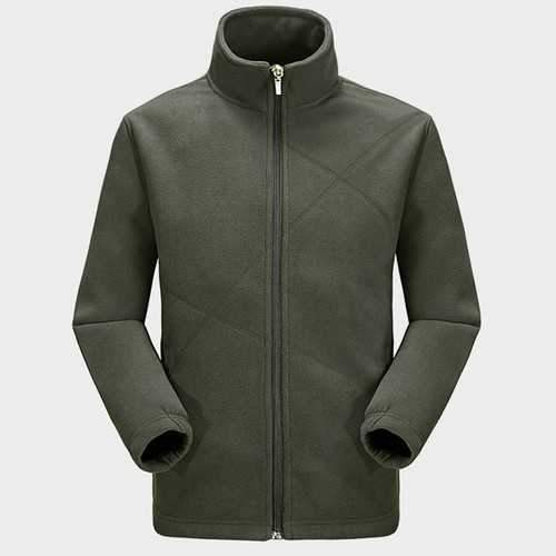 Mens Anti-static Spring Zipper Solid Color Sweater Outdoor Sport Warm Fleece Jacket