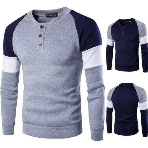 Mens Fashion Casual British Style Sweater Spell Color Stitching Button Raglan Sleeve T-shirt