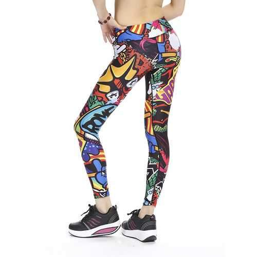 Women Plus Size Slim Quick-dry Print Stretched Gym Running Ninth Yoga Pants