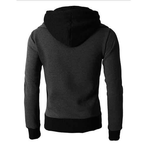 Cotton Stitching Color Tops Zipper Sweatshirts