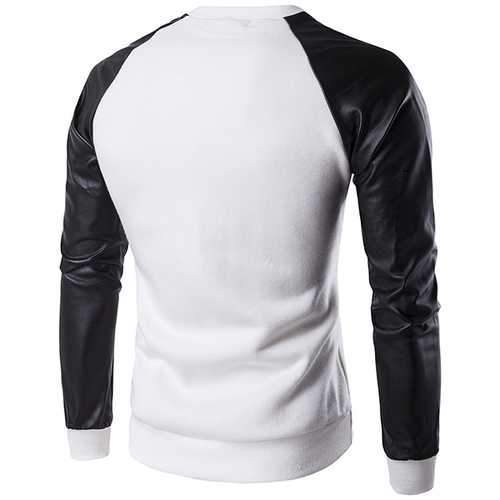 Mens Casual Stitching Sleeves Sweatshirt O-neck Collar Slim Fit Sweatshirt
