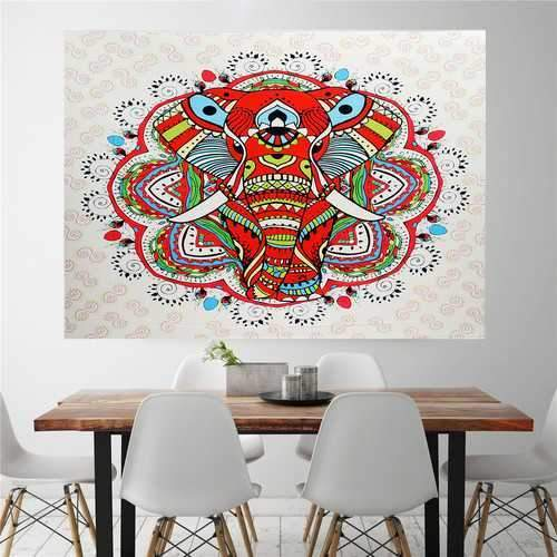 IPRee Beach Blanket Yoga Mat Elephant Bohemian Style Tapestry Hanging Curtain Throw Towel Bedspread