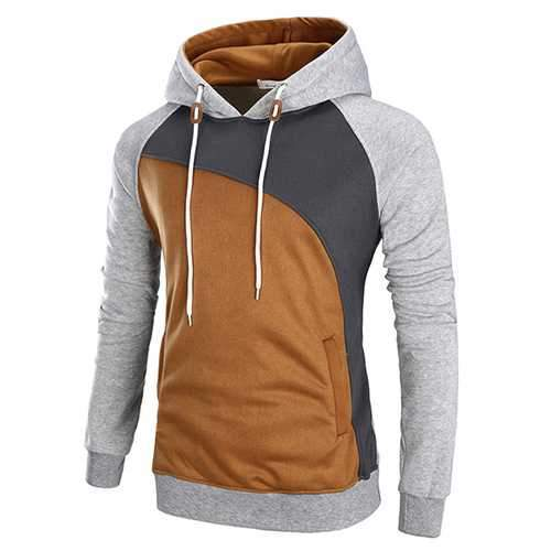 Fashion Color block Splicing Hooded Sweater Mens Long Sleeve Thick Sport Hoodies