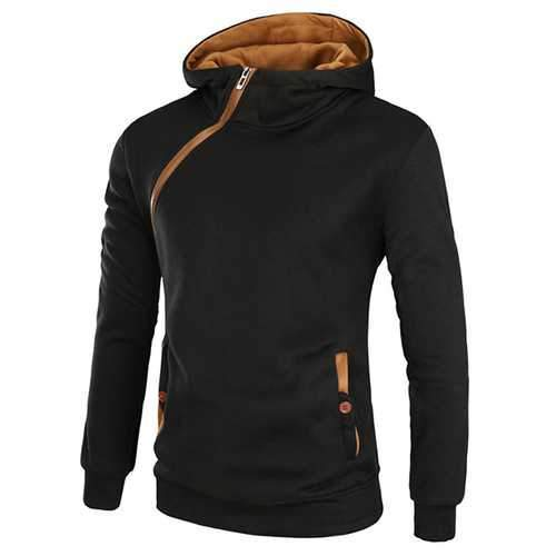 Men's Casual Solid Color Sport Zipper Thick Hoodies
