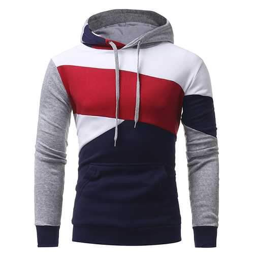 Fashion Front Big Pocket Casual Pullover Men's Geometric Pattern Stitching Casual Hoodies