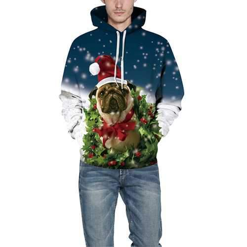Christmas Dog Digital Printing Hoodies Sweater Big size Casual Loose Couple Sportswear