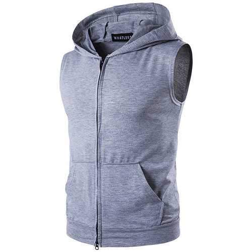 Mens Fashion Hooded Sleeveless Zipper Vest Big Pocket Sports Cotton Tank Tops