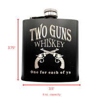 Whiskey Flask - Matte Black Stainless Steel Liquor Flask 6oz. - Leak Proof - Two Guns