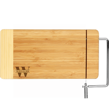 Load image into Gallery viewer, Bamboo Rectangle Cutting Board with Metal Cheese Cutter (Personalize This!)