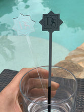 Load image into Gallery viewer, custom logo drink stirrer black and clear